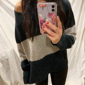 ae ➵ fuzzy color block sweater